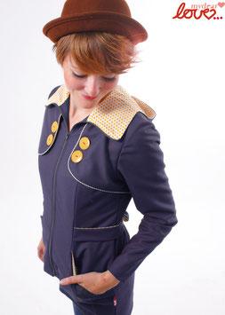 Trenchcoat Mantel Damen Uni Dunkelblau Punkte Gelb Langarm Kapuze