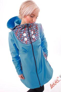 Mantel Damen Softshell Blau Dreiecke Wimpel Kapuze