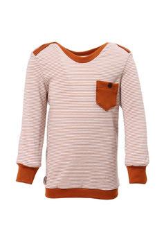 Guttellino Shirt Streifen Beige Rost Langarm Tasche