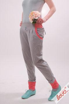 Hose Lang Damen Sweat Uni Grau Rosa