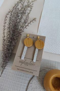 Ohrringe Kreis senf, Stab Steinimitat natur, Stecker goldfarben