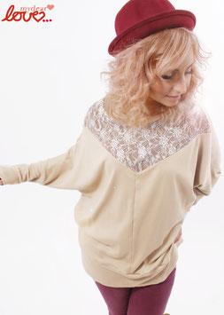 Shirt Fledermausshirt Damen Jersey Uni Creme Spitze