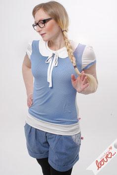 Shirt T-Shirt Damen Punkte Hellblau Bubikragen Weiß Kurzarm