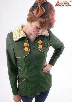 Trenchcoat Mantel Damen Uni Dunkelgrün Punkte Gelb Langarm Kapuze