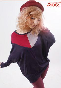 Shirt Fledermausshirt Damen Jersey Colourblocking Marine Weinrot Grau