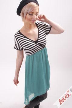 Kleid Damen Chiffon Türkis Jersey Streifen Schwarz Weiß Wickeloptik Kurzarm