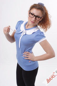 Shirt T-Shirt Damen Uni Blau Bubikragen Weiß Kurzarm