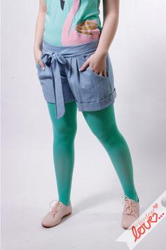 Hose Shorts Jeans Damen Hellblau Bindegürtel