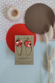 Ohrringe Kreis Koralle Muster, Blatt goldfarben