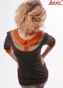Shirt Damen Jersey Uni Dunkelbraun Beige Bubikragen Rostorange Dreiviertelärmel