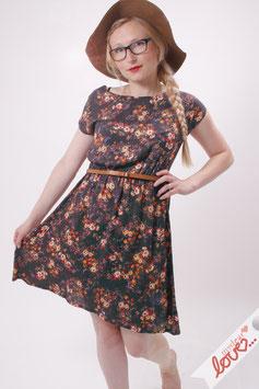 Kleid Damen Viskose Blumen Bunt Kurzarm Rundhals