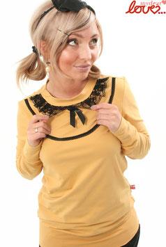 Shirt Damen Jersey Uni Gelb Kragen Spitze Schwarz Langarm