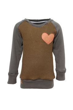 Guttellino Sweatshirt Herz Strick Olive