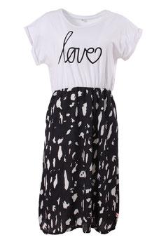 """Kleid Damen Weiß Druck """"LOVE"""", Muster Schwarz Weiß, überschnittene Schultern, Rundhals"""