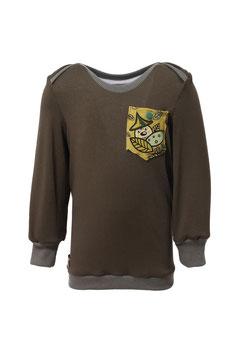 Guttellino Shirt Dunkelgrün Langarm Materialmix Print Tasche