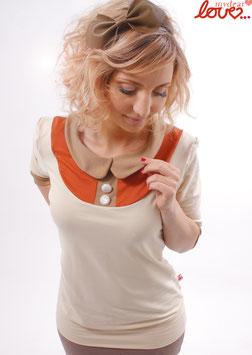 Shirt Damen Jersey Uni Creme Rostorange Bubikragen Beige Dreiviertelärmel