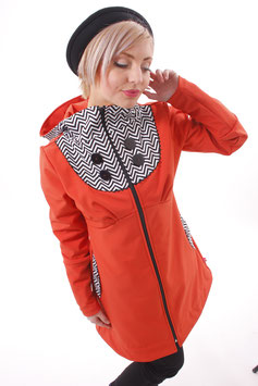 Mantel Damen Softshell Orange Chevron Schwarz Weiß Kapuze