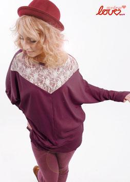 Shirt Fledermausshirt Damen Jersey Uni Weinrot Spitze