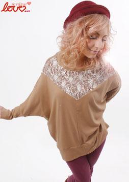 Shirt Fledermausshirt Damen Jersey Uni Beige Spitze
