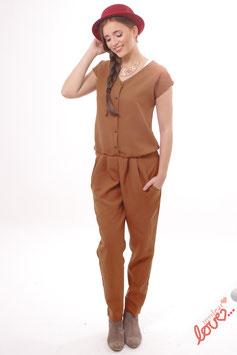 Jumpsuit Overall Damen Uni Rost Braun Lang