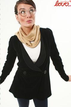 Blazer Long Damen Jacke Nicki Uni Schwarz