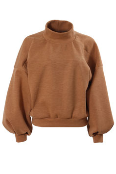 Sweatshirt Damen Uni Camel Rollkragen Oversized Transferdruck mydearlove gold