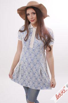 Kleid Damen Blusenkleid Blau Spitze Ecru Kurzarm