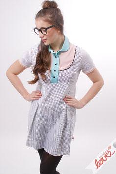 Kleid Damen Blusenkleid Weiß Punkte Pastell Kurzarm