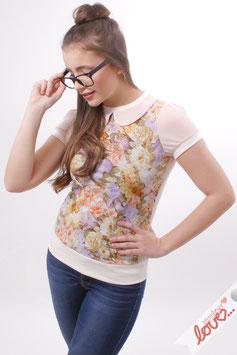 Shirt T-Shirt Damen Uni Flieder Bubikragen Blumen Kurzarm