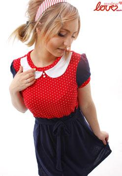 Kleid Jersey Marine Punkte Rot Bubikragen Weiß Kurzarm
