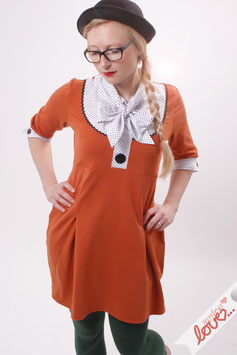 Kleid Damen Blusenkleid Sweat Orange Schluppe Punkte  Dreiviertelärmel