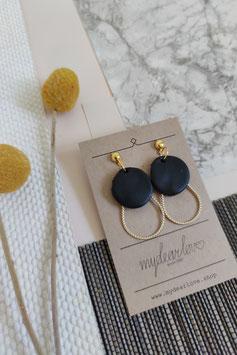 Ohrringe Kreis schwarz, Tropfen goldfarben