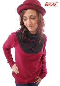 Shirt Damen Jersey Uni Weinrot Rollkragen Schwarz Spitze Langarm