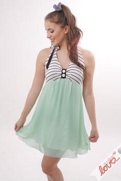 Kleid Neckholderkleid Damen Chiffon Mint Jersey Streifen Schwarz Weiß