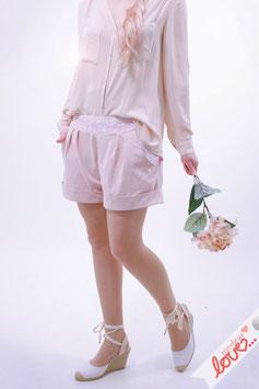 Hose Shorts Damen Uni Rosa Spitze Weiß