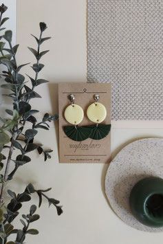 Ohrringe Kreis Zitrone, Halbkreis dunkelgrün, Ohrstecker silberfarben