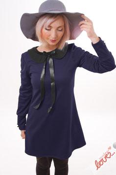 Kleid Minikleid Sweat Uni Dunkelblau Bubikragen Schwarz Langarm