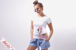 T-Shirt Damen Uni Weiß Baumwolle Print Flamingo Rosa Kurzarm