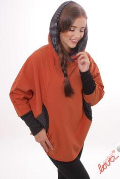 Cape Poncho Damen Softshell Uni Orange Punkte Schwarz Weiß Kapuze
