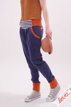 Hose Lang Damen Sweat Uni Marine Orange Streifen Blau Weiß