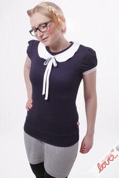 Shirt Shirt T-Shirt Damen Uni Dunkelblau Bubikragen Weiß Kurzarm