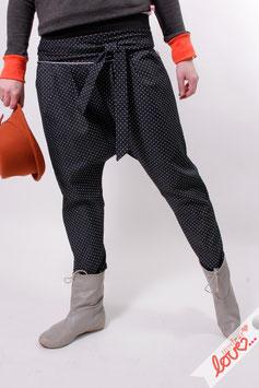 Haremshose Jeans Hose Damen Schwarz Weiß Punkte Bindeband