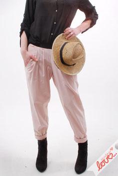 Hose Lang Damen Chino Bundfalten Uni Rosa