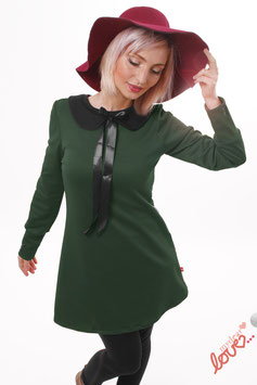 Kleid Minikleid Sweat Uni Dunkelgrün Bubikragen Schwarz Langarm