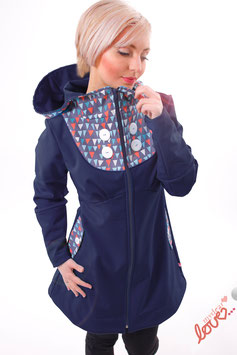 Mantel Damen Softshell Marine Dreiecke Wimpel Kapuze