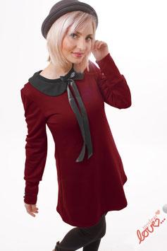 Kleid MiniKleid Sweat Uni Weinrot Bubikragen Schwarz Langarm