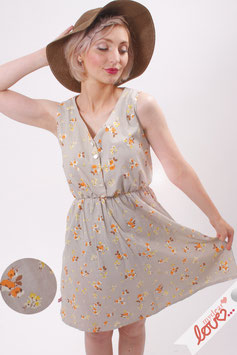 Kleid Damen Viskose Hellgrau Blumen Ärmellos V-Ausschnitt
