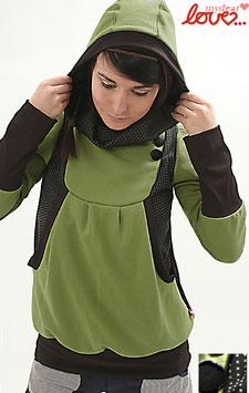 Hoodie Damen Sweat Grün Punkte schwarz Langarm Kapuze