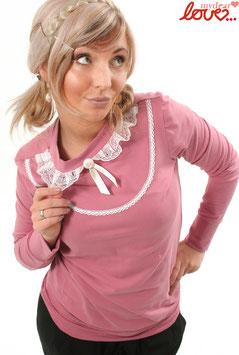 Shirt Damen Jersey Uni Altrosa Kragen Spitze Langarm