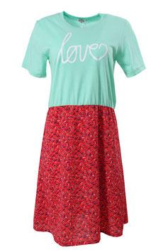 "Kleid Damen Mint Druck ""LOVE"" weiß, Muster Fische Rot, Kurzarm, Rundhalsausschnitt"